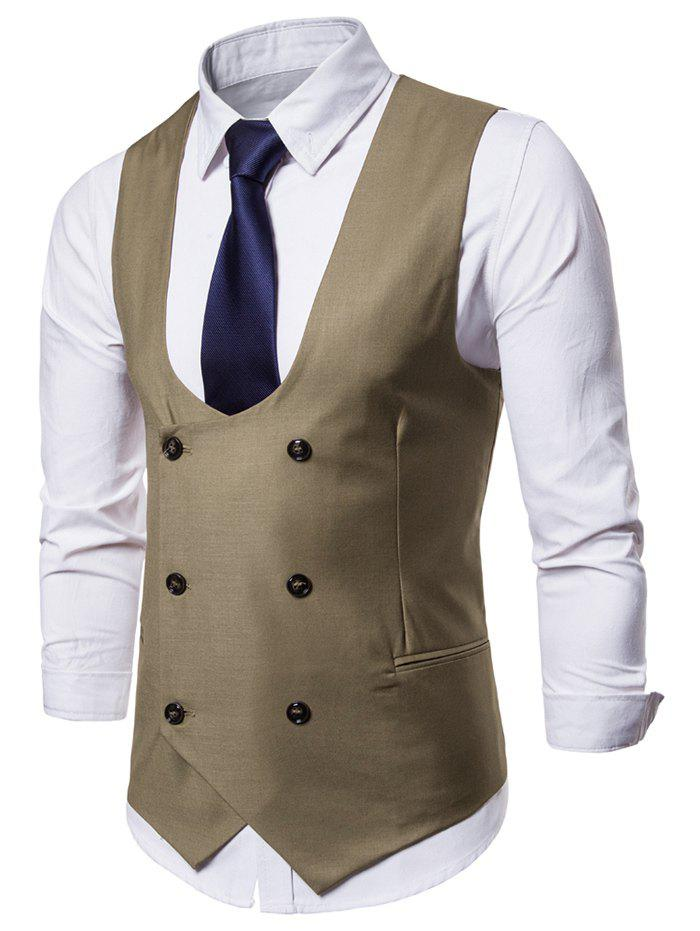 Cheap Double Breasted U Neck Solid Color Waistcoat