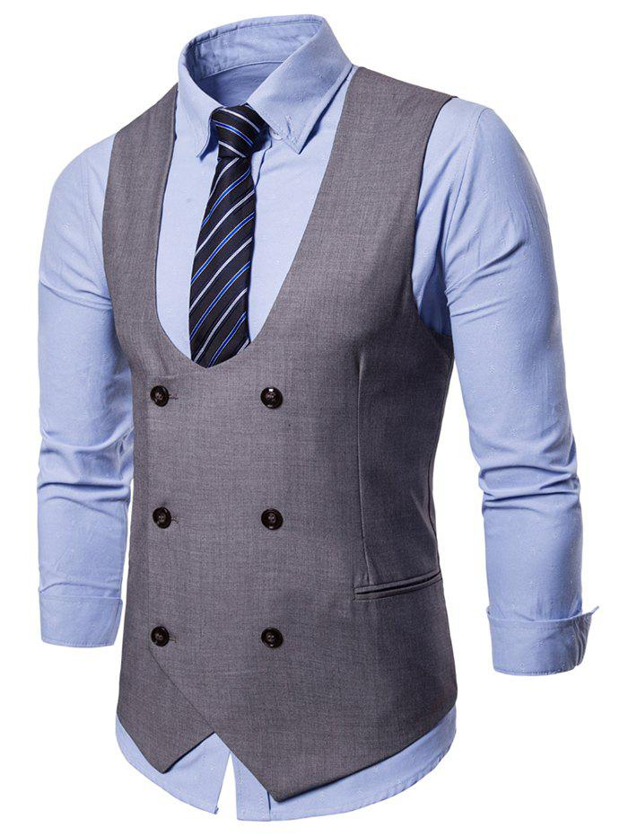 Best Double Breasted U Neck Solid Color Waistcoat