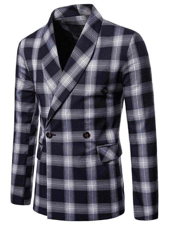 Sale Check Shawl Collar Double Breasted Blazer