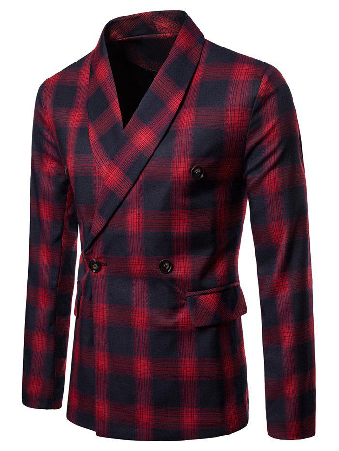 Outfits Checked Shawl Collar Double Breasted Blazer