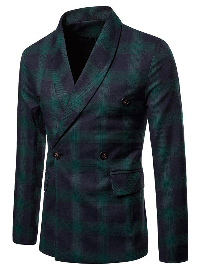 Hot Checked Shawl Collar Double Breasted Blazer