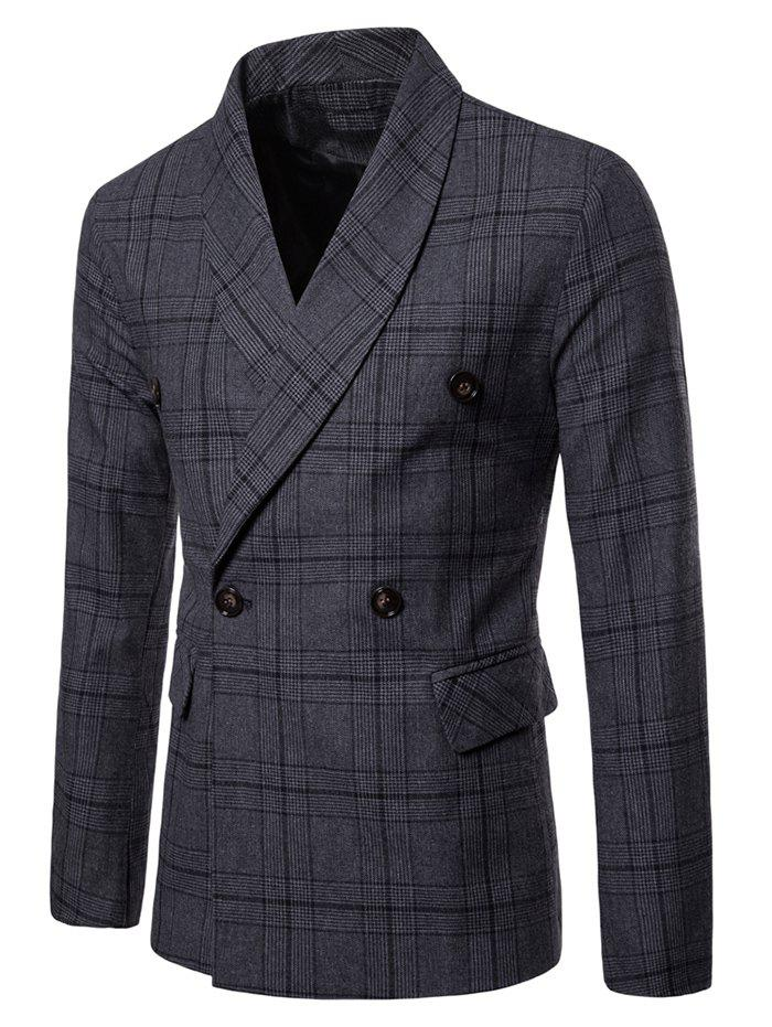 Discount Shawl Collar Double Breasted Plaid Blazer