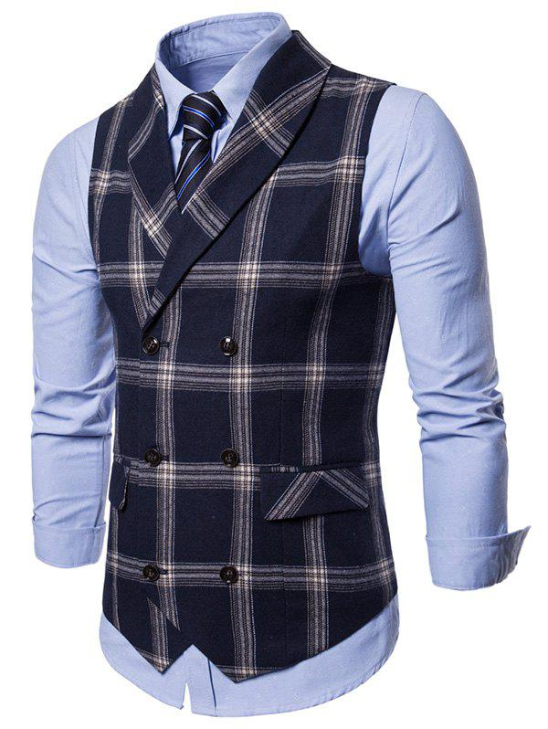 Discount Checked Back Belt Shawl Collar Waistcoat