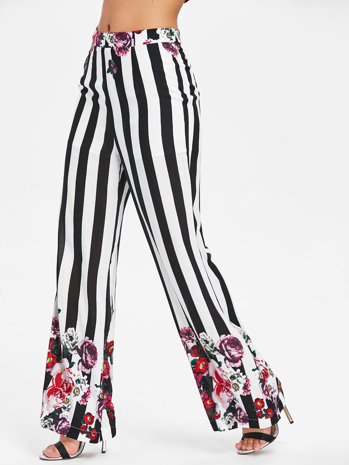 Outfit High Rise Stripe Flower Palazzo Pants