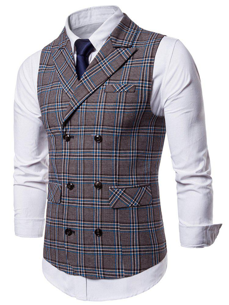 Cheap Double Breasted Flap Pocket Plaid Waistcoat
