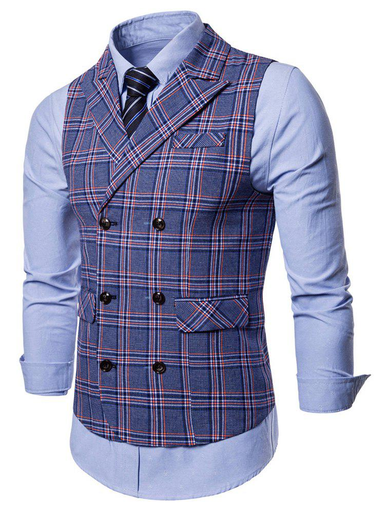 Buy Double Breasted Flap Pocket Plaid Waistcoat