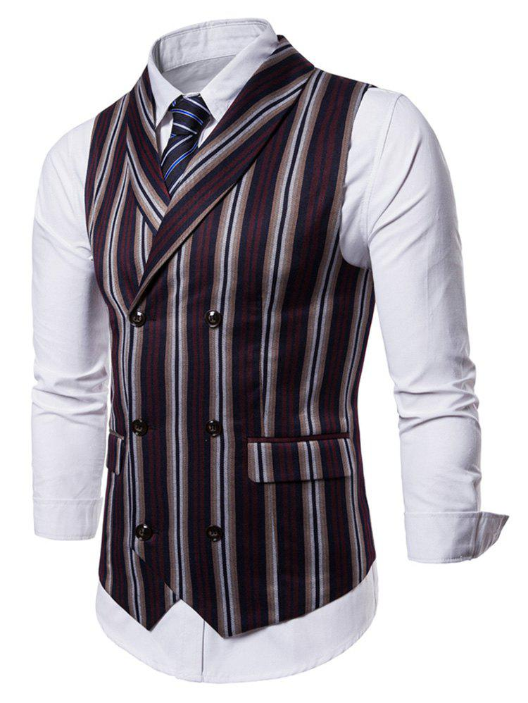 Online Double Breasted Shawl Collar Stripe Waistcoat
