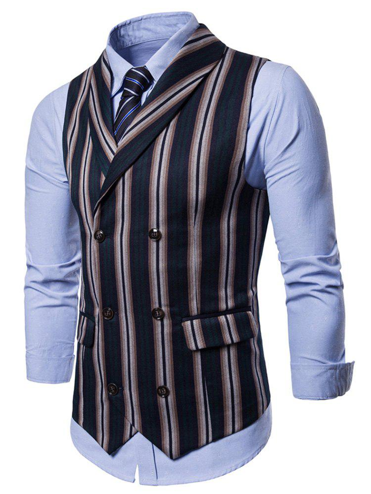Discount Double Breasted Shawl Collar Stripe Waistcoat