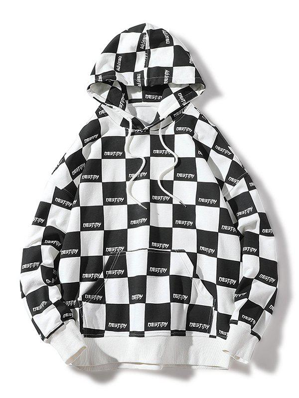 Sale Allover Checked Print Pullover Hoodie