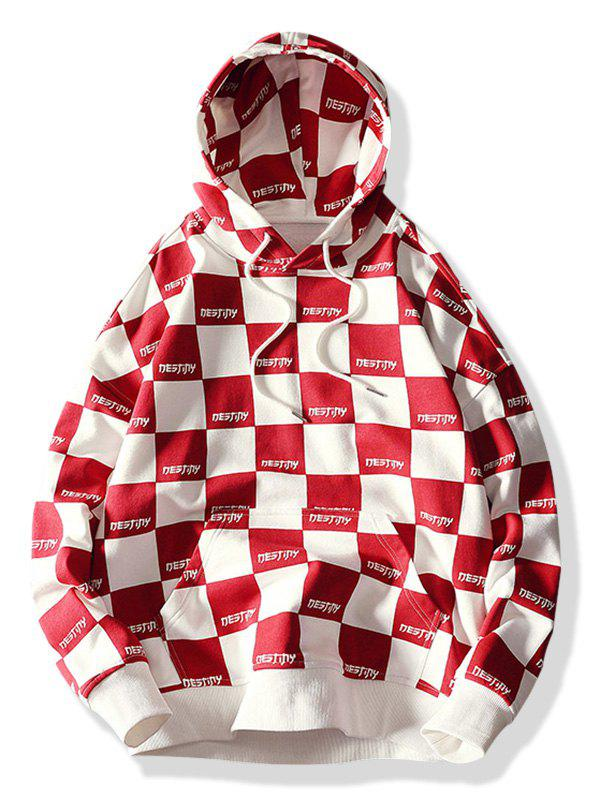 Trendy Allover Check Print Pullover Hoodie