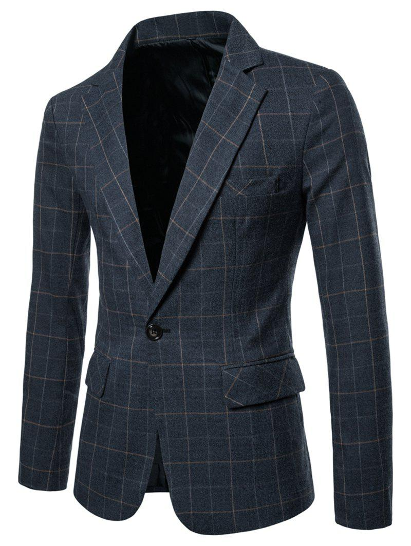 Cheap One Button Lapel Collar Checked Blazer