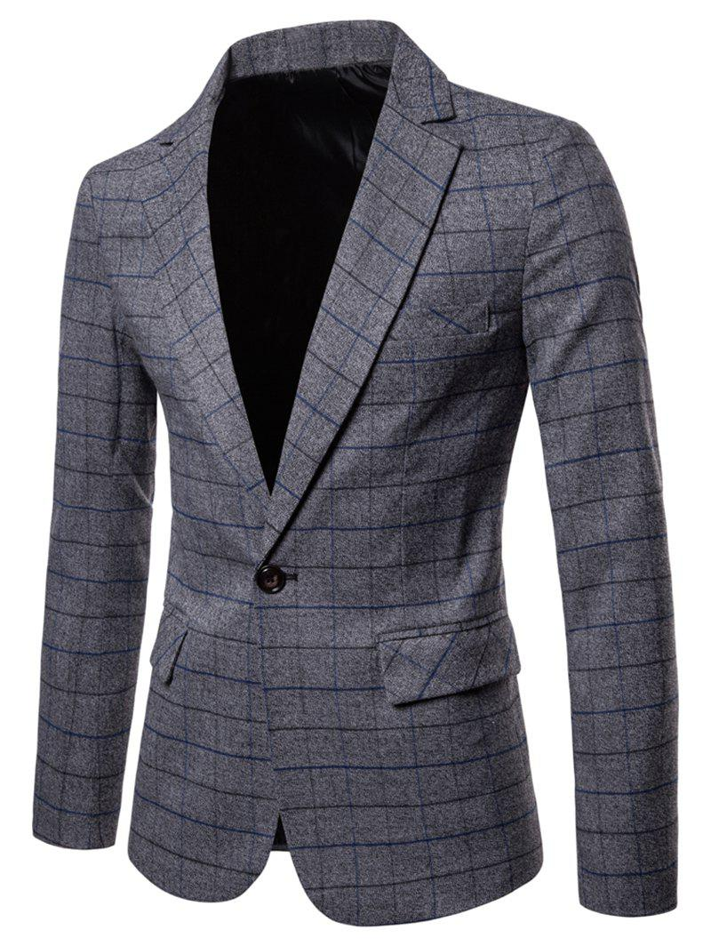 New One Button Lapel Collar Checked Blazer