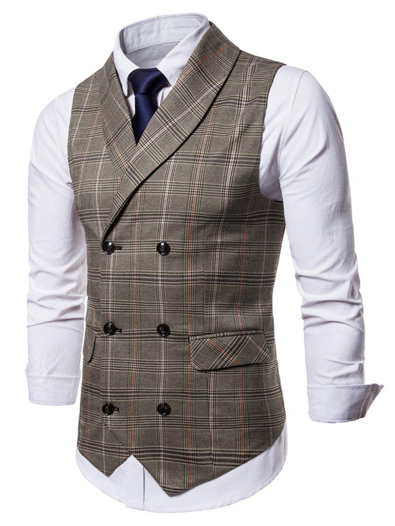 Trendy Check Shawl Collar Double Breasted Waistcoat