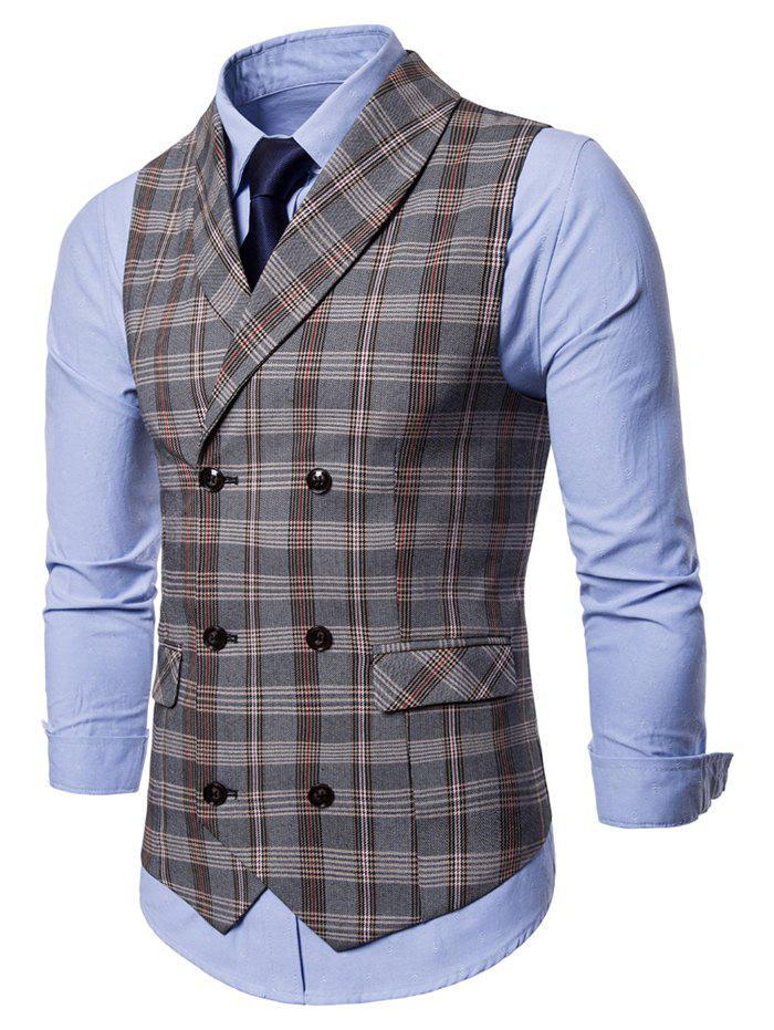 Sale Checked Shawl Collar Double Breasted Waistcoat