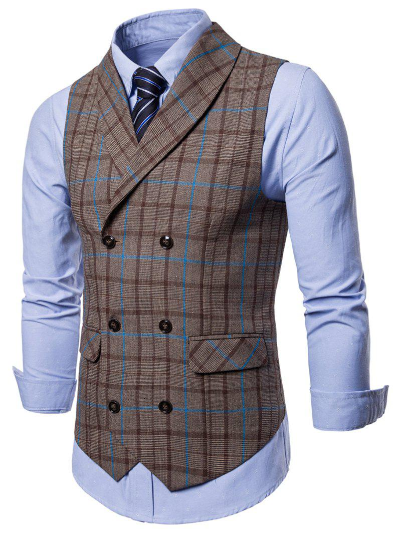 Outfits Double Breasted Shawl Collar Plaid Waistcoat