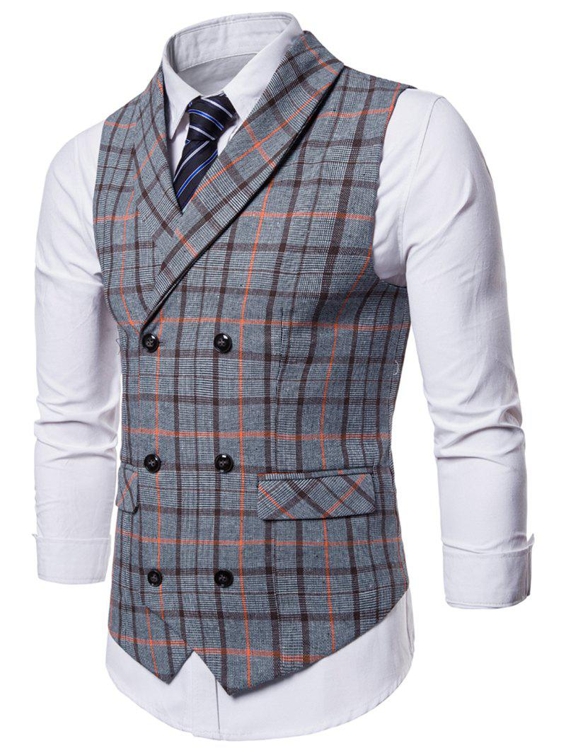 Chic Double Breasted Shawl Collar Plaid Waistcoat