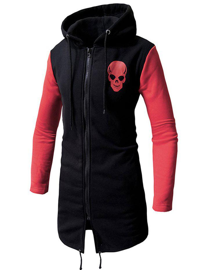 Discount Contrast Color Chest Skull Print Zipper Long Hoodie