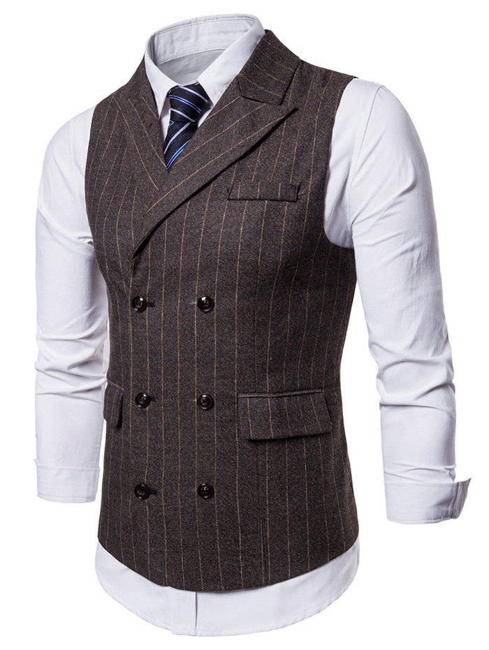 Fancy Flap Pockets Vertical Stripes Waistcoat