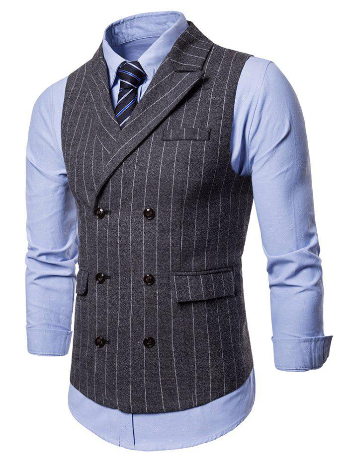 Cheap Flap Pockets Vertical Stripes Waistcoat