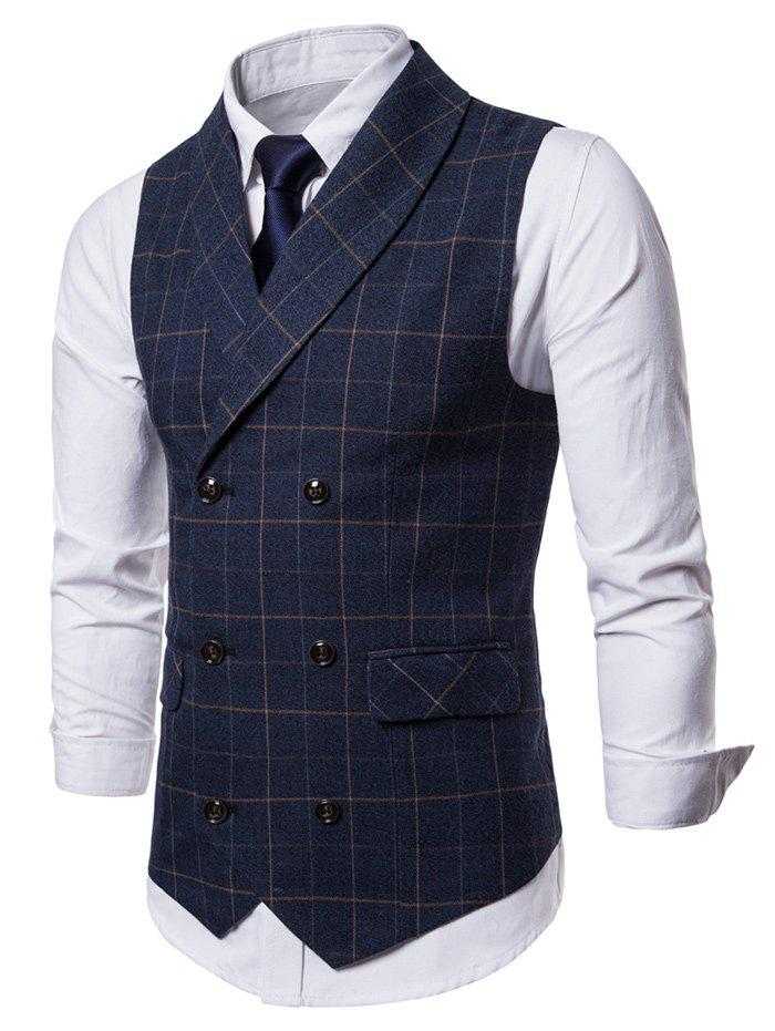 Latest Double Breasted Shawl Collar Check Waistcoat