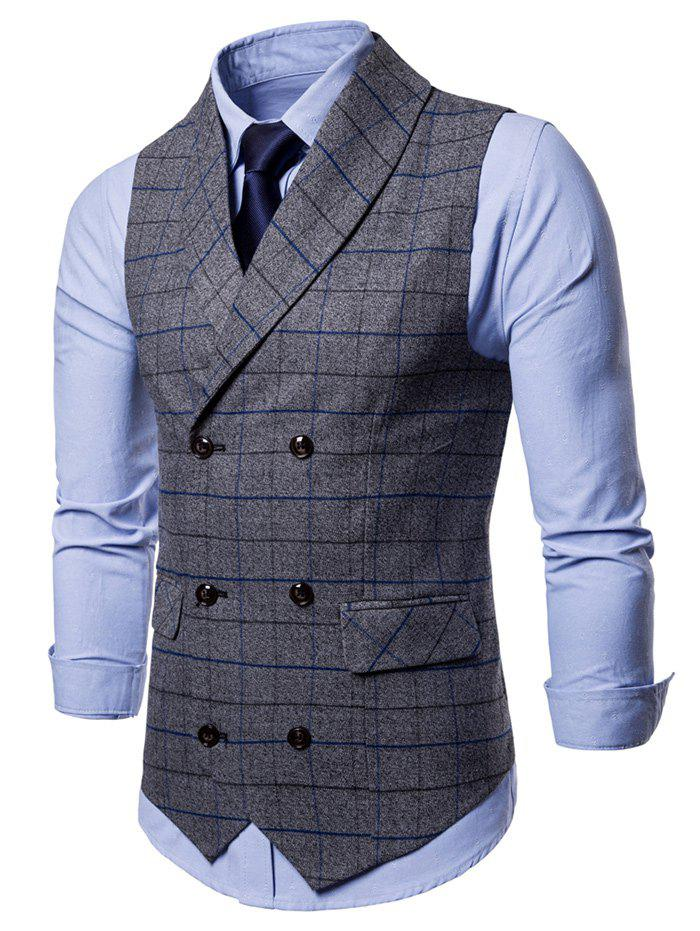Unique Double Breasted Shawl Collar Check Waistcoat