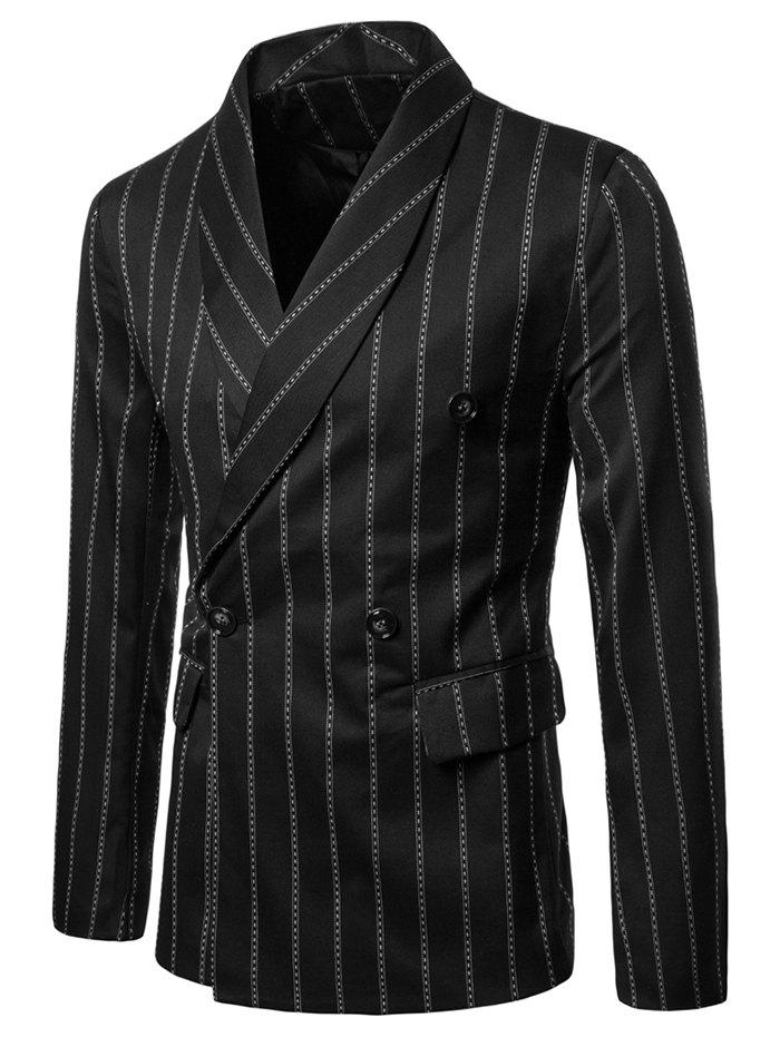 Sale Double Buttons Shawl Collar Stripe Print Blazer