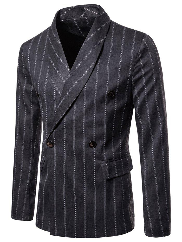 Cheap Double Buttons Shawl Collar Stripe Print Blazer