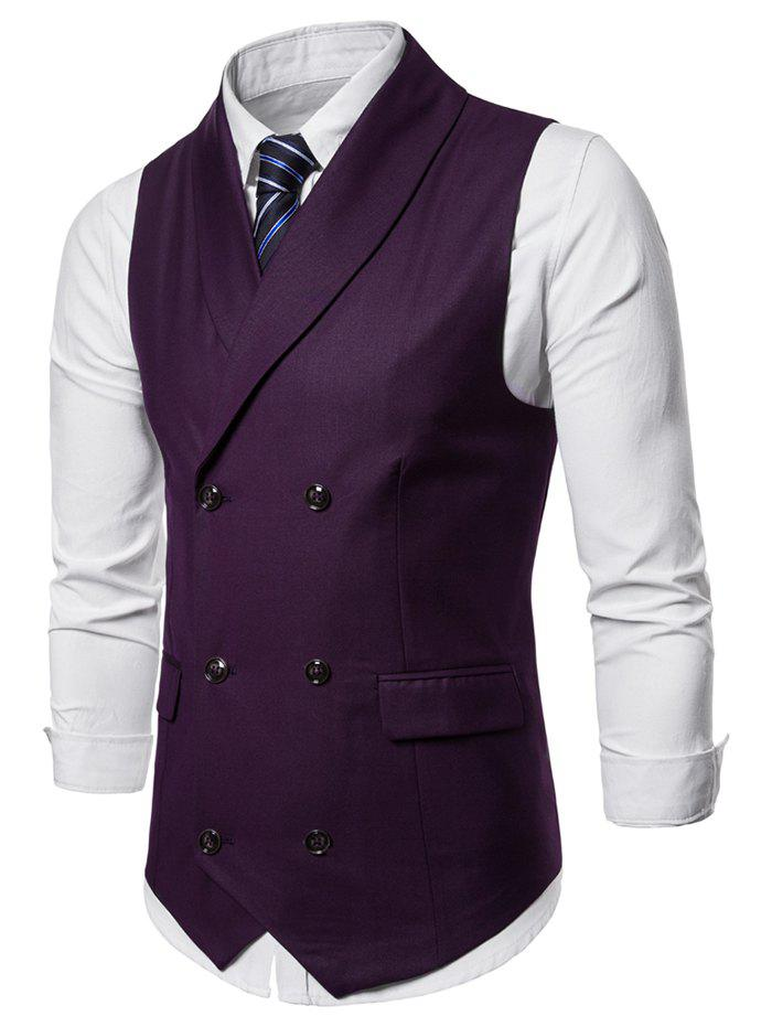 Outfits Shawl Collar Solid Color Double Breasted Waistcoat