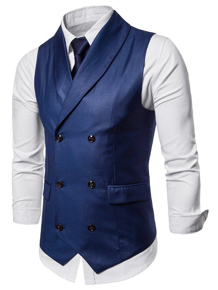 Outfit Shawl Collar Solid Color Double Breasted Waistcoat