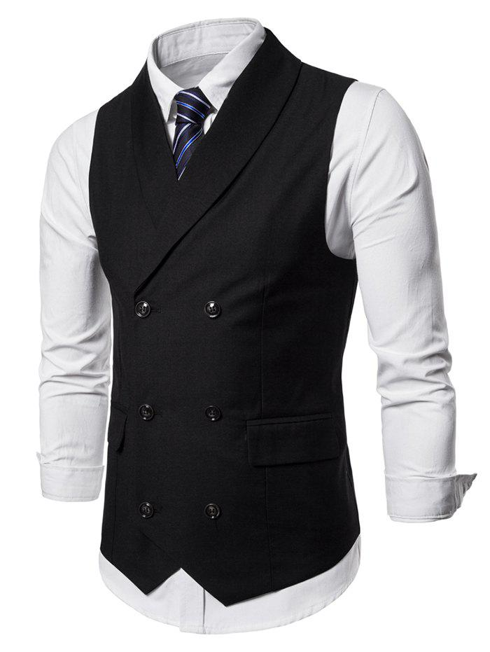 New Shawl Collar Solid Color Double Breasted Waistcoat