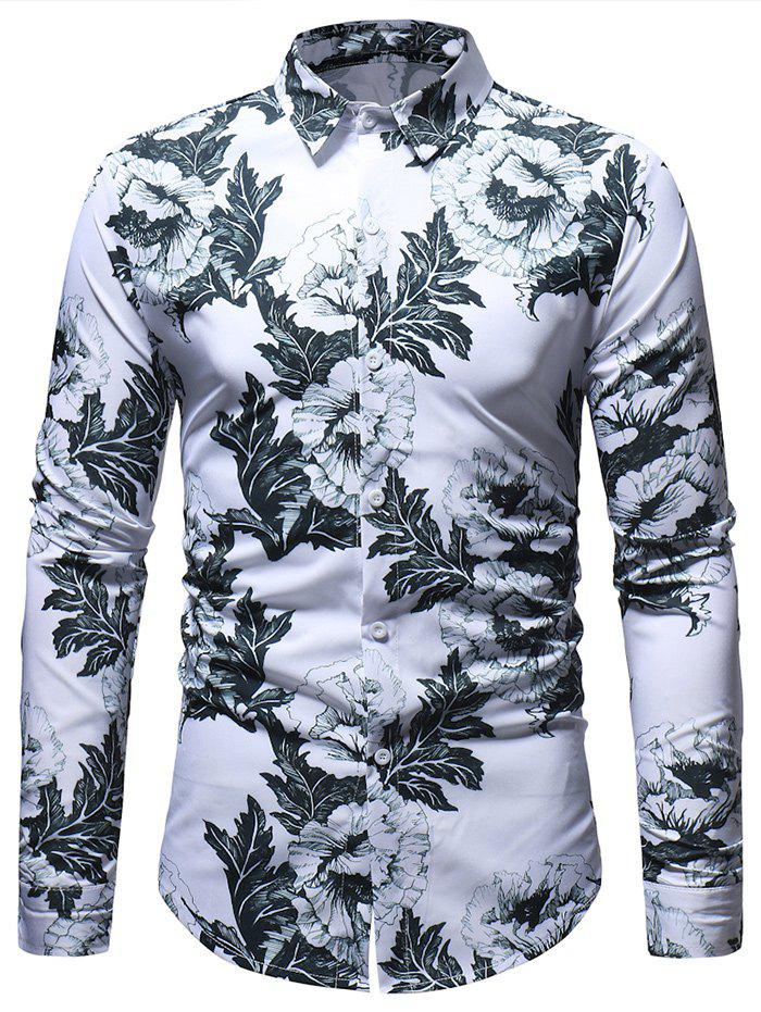 Fashion Casual Flowers Leaves Pattern Long Sleeve Shirt