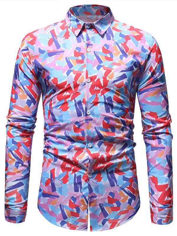 Shops Casual Colorful Print Button Up Shirt