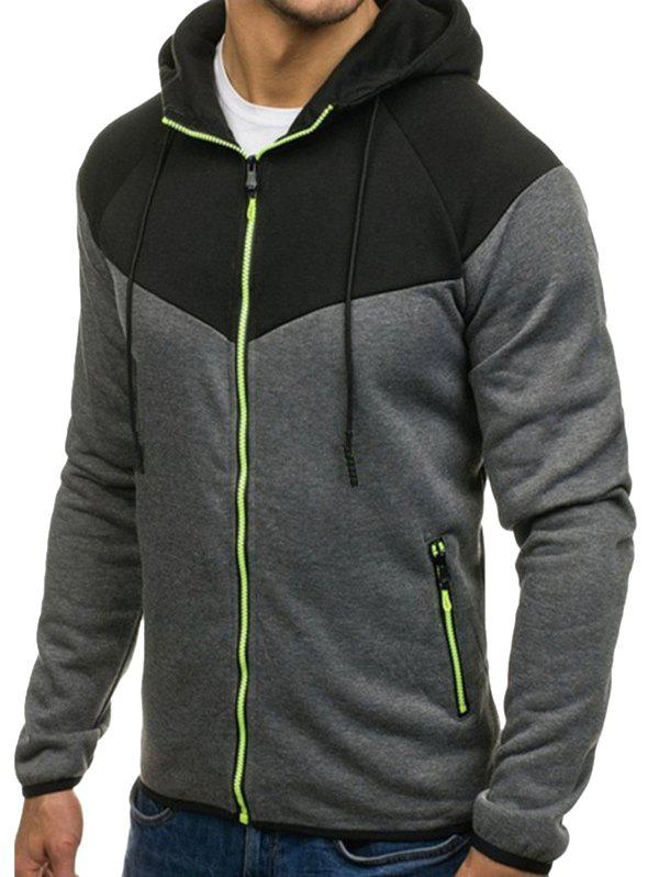 Chic Color Block Full Zipper Side Pocket Fleece Hoodie