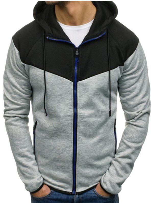 Hot Color Block Full Zipper Side Pocket Fleece Hoodie