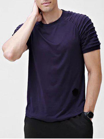 Solid Patch Detail Pleated Short Sleeve T-shirt