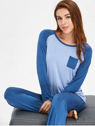 Two Tone Long Sleeves Sleepwear Set with Pocket