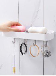 Multifunctional Soap Dish with 4 Wall Hooks -