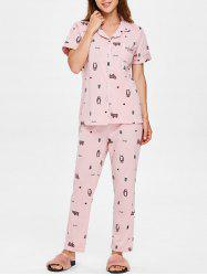 Bear Print Short Sleeves Sleepwear Set -