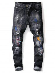 Distressed Faded Wash Star Embroidery Jeans -
