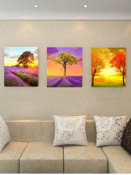 Lavender Field Tree Print Unframed Canvas Wall Art -