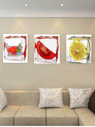 Lemon In Ice Cube Print Split Canvas Paintings -