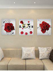 Love Flower Print Split Canvas Paintings -