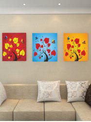 Tree Branch Leaf Butterfly Print Split Canvas Paintings -