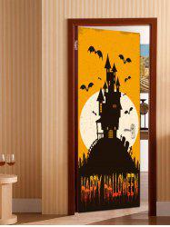 Halloween Moonlight Castle Print Removable Door Stickers -
