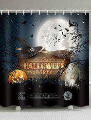 Halloween Party Pumpkin Bat Bathroom Curtain -
