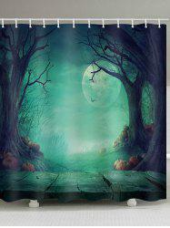Magic Forest Halloween Night Print Waterproof Bath Curtain -
