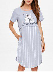 Striped Print Short Sleeve Sleeping Dress -