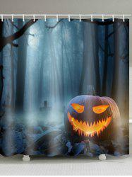 Halloween Terror Forest Pumpkin Lamp Print Bath Curtain -