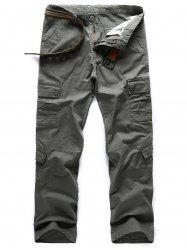 Casual Solid Color Pockets Design Cargo Pants -