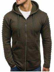 Solid Color Sleeve Pleated Pocket Full Zipper Fleece Hoodie -